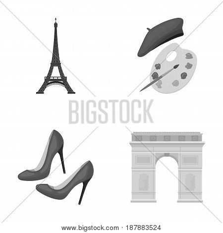 Eiffel tower, brush, hat .France country set collection icons in monochrome style vector symbol stock illustration .