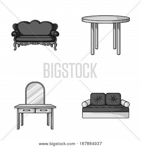 Sofa, armchair, table, mirror .Furniture and home interiorset collection icons in monochrome style vector symbol stock illustration .