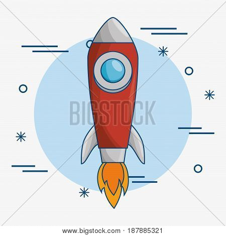 A skyrocket icon over blue and white background. Vector illustration.
