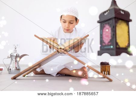 Muslim man praying for god in dark room at ramadan,colorful and vintage tone filter effect color style