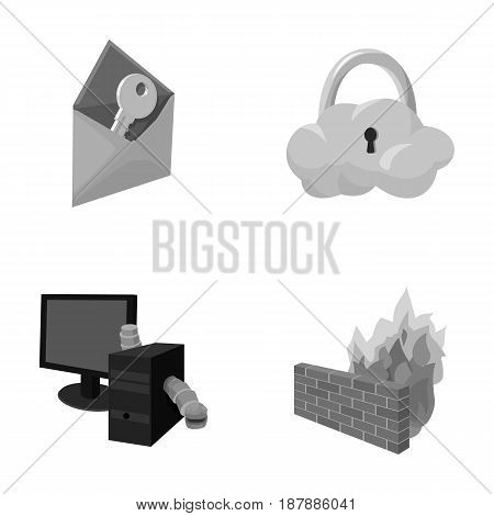 System, internet, connection, code .Hackers and hacking set collection icons in monochrome style vector symbol stock illustration .