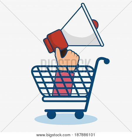 A blue shopping cart and a hand holding a bullhorn over white background. Vector illustration.
