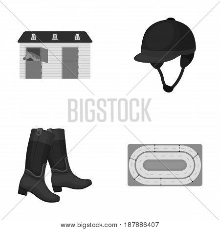 Boots, grass, stadium, track, rest .Hippodrome and horse set collection icons in monochrome style vector symbol stock illustration .