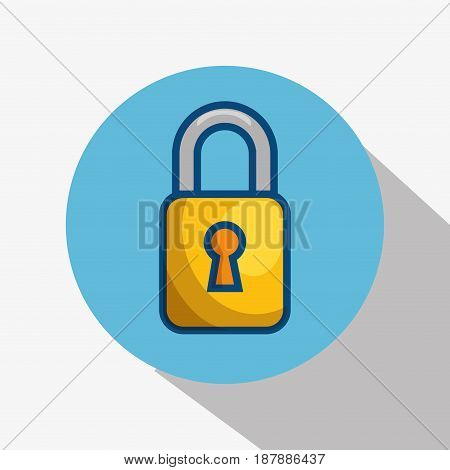 A yellow padlock icon over blue and white background. Vector illustration.