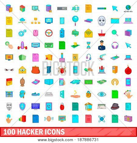 100 hacker icons set in cartoon style for any design vector illustration