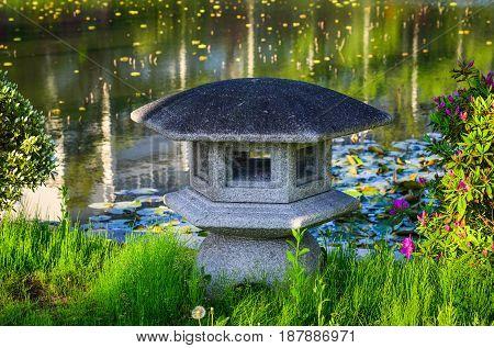 Stone Lantern At The Japanese Garden
