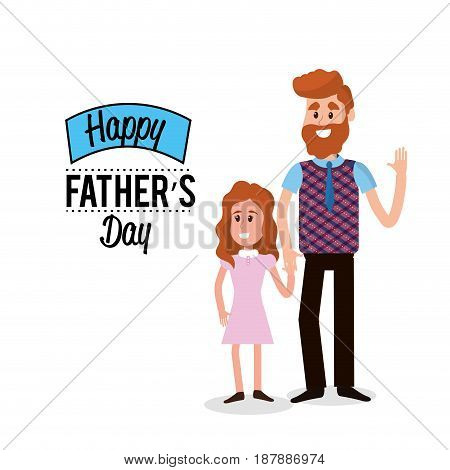 happy father with his daughter congratulating him, vector illustration