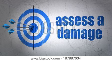 Success Insurance concept: arrows hitting the center of target, Blue Assess A Damage on wall background, 3D rendering