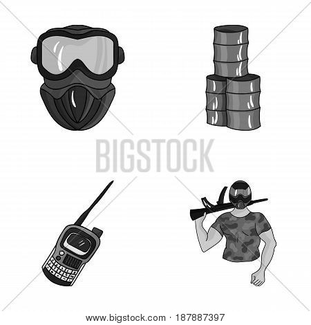 Equipment, mask, barrel, barricade .Paintball set collection icons in monochrome style vector symbol stock illustration .