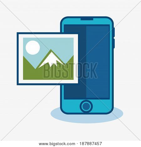 A blue smartphone and a picture of a landscape over white background. Vector illustration.