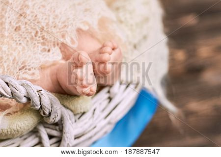 Close up of baby feet. Legs of caucasian child.