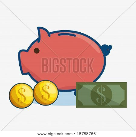 Piggy bank with bill and coins over white background. Vector illustration.