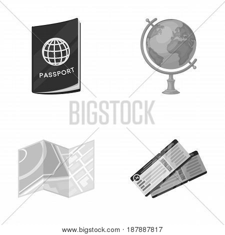 Vacation, travel, passport, globe .Rest and travel set collection icons in monochrome style vector symbol stock illustration .