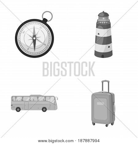Vacation, travel, lighthouse, compass .Rest and travel set collection icons in monochrome style vector symbol stock illustration .