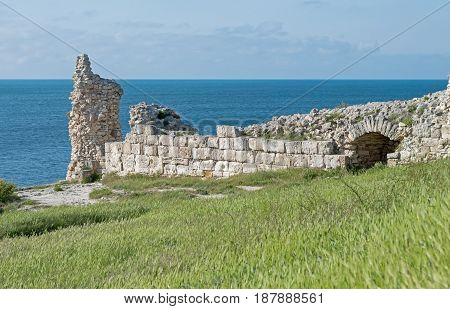 Ruins of ancient fortress wall in the museum of Chersonesos