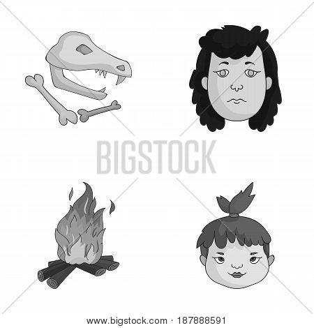 Woman, hair, face, bonfire .Stone age set collection icons in monochrome style vector symbol stock illustration .