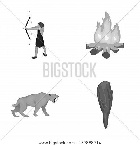 Man, hunter, onion, bonfire .Stone age set collection icons in monochrome style vector symbol stock illustration .