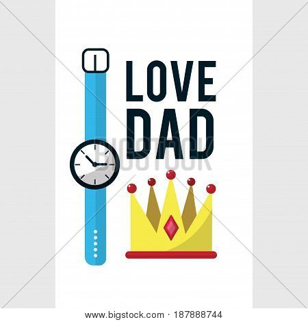 card of father day with watch decoration, vector illustration
