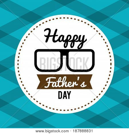 happy father day card with glasses and ribbon, vector illustration
