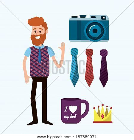 father with things that usually use, vector illustration design