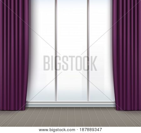 Vector empty room with large window and purple, violet curtains