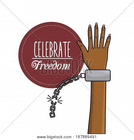 hand up with chain to celebrate freedom, vector illustration