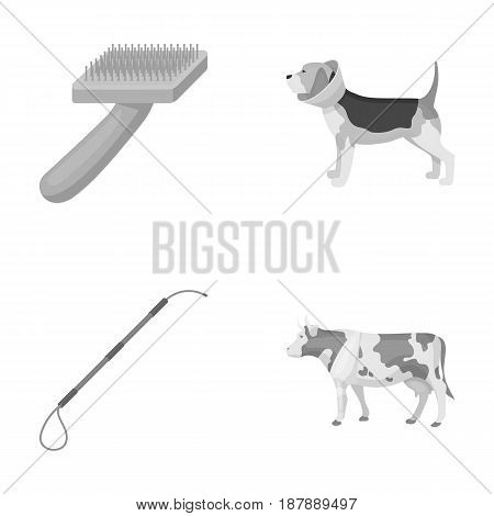 Dog, cow, cattle, pet .Vet Clinic set collection icons in monochrome style vector symbol stock illustration .