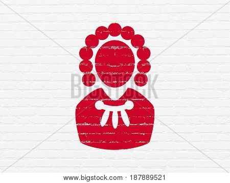 Law concept: Painted red Judge icon on White Brick wall background