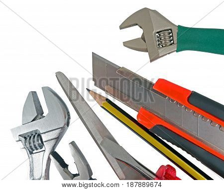 the used tools on a white background