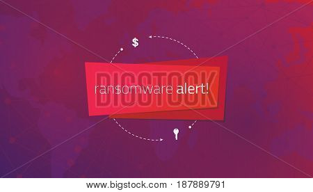 Message ransomware alert on the background of a world map and lines of communication. Editable eps10 vector. Transparent background.