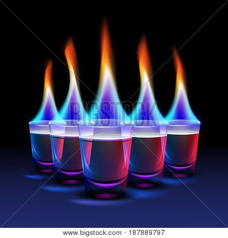 Set of Burning cocktail shots with colored fire and blue, red backlight isolated on black background