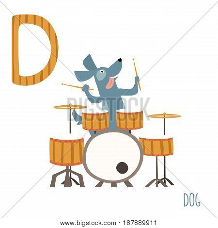 Vector illustration of cute kids animal alphabet. Letter D for the Dog and Drum. Cartoon little dog playing music on drums isolated on white background for child illustration, baby shower, birtday card, invitiation, T-shirt. Preschool and school reading s