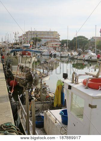 Fishing boats moored at the port of Cesena