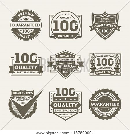 Premium quality guaranteed retro isolated label set. Retail award badge, 100 percent satisfaction quality assurance symbol, best product choice, vintage certificate sign vector illustration collection