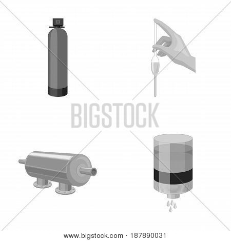 System, balloon, hand, trial .Water filtration system set collection icons in monochrome style vector symbol stock illustration .