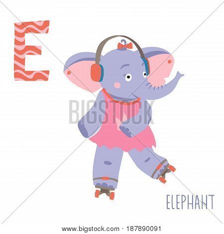 Vector kids illustration of cute animal alphabet. Letter E for the Elephant and Earphone. Cartoon little elephant girl riding on the rollers isolated on white background for child illustration, baby shower, birtday card, invitiation, T-shirt. Preschool an