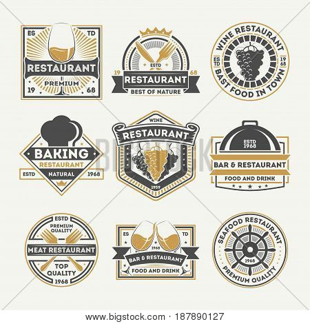 Restaurant vintage isolated label set vector illustration. Wine restaurant symbol, bar or pub badge, natural baking. Best seafood and meat logo, premium quality food and drink, delicious sign.