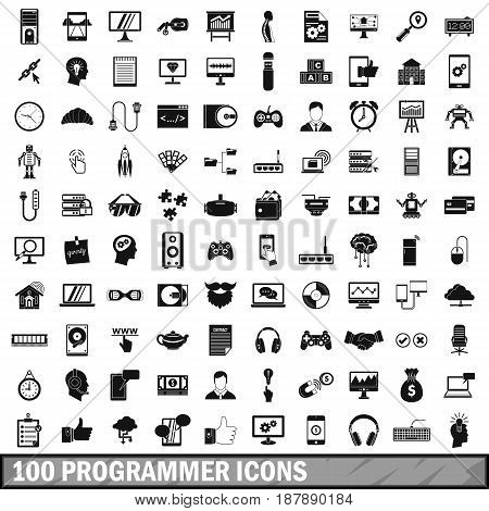 100 programmer icons set in simple style for any design vector illustration