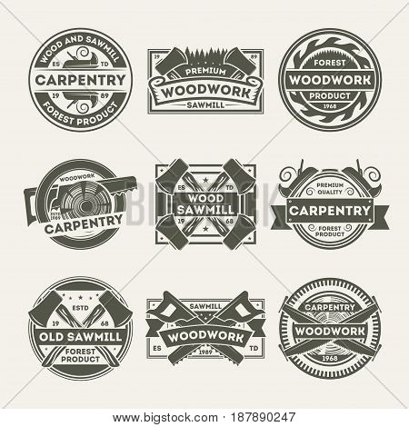 Woodwork company vintage isolated label set. Forest woodwork product symbol, carpentry business emblem, old sawmill service badge, wood industry logo. Plane, ax, saw vector illustration.