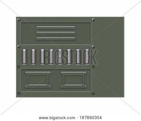 Industrial grunge background. Green metal plate with bolts and perforated sections over white background.