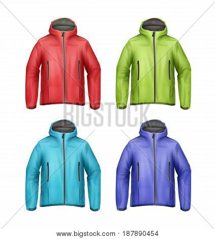 Vector set of blue, green, red, turquoise softshell unisex sport jackets with hood front view isolated on white background