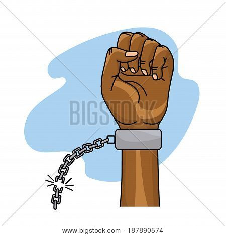 hands fist up with chain to celebrate special day, vector illustration