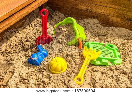 sandbox on children playground (toys in sand)