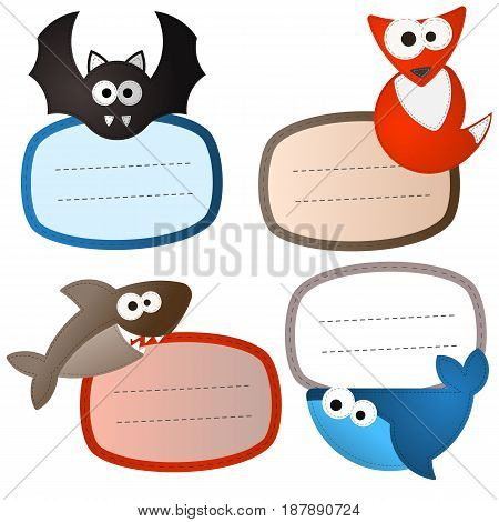 Bagage stickers felt wild animals set. The bat shark whale fox. Sewing needlework look like. Editable eps10 Vector. Transparent background illustration.