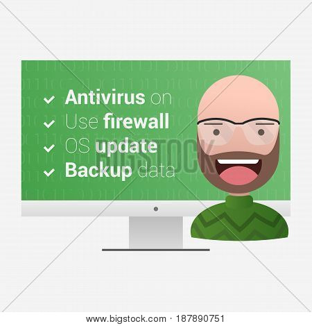 Virus protection measures. Satisfied user on a computer background with a green background. Editable eps10 Vector. Transparent background.
