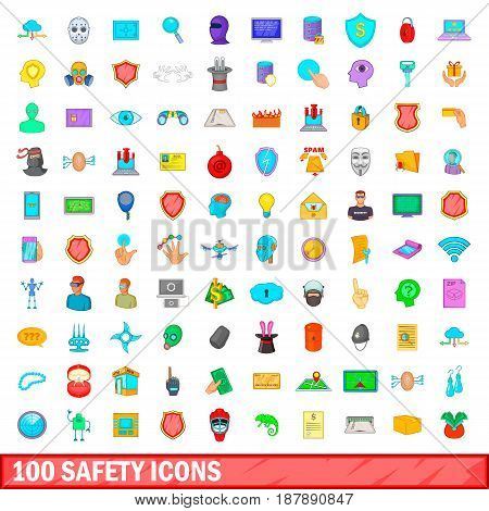 100 safety icons set in cartoon style for any design vector illustration
