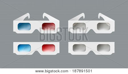 Vector set of white paper 3d glasses top, front view isolated on gray background