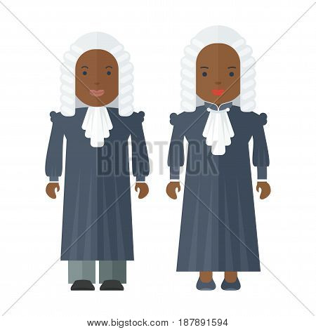 Black people judge a man and a woman. Characteristic for the process of the court and the protection rights of citizen. Objects isolated on white background. Flat cartoon vector illustration.