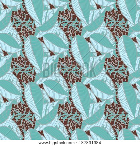 Varicolored vector seamless illustration. Tropical seamless pattern with many blue abstract leaves.