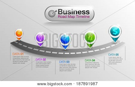 infographic Business road map timeline 5 options Business concept info graphic template can be used for workflow layout diagram number options step Used for illustrations.